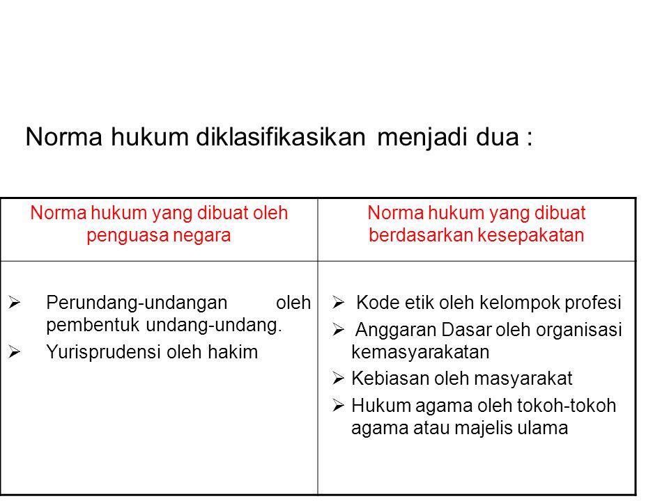 Norma hukum diklasifikasikan menjadi dua :