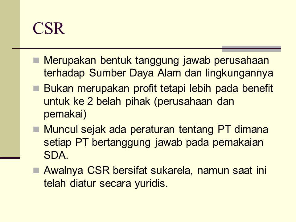 CSR Merupakan bentuk tanggung jawab perusahaan terhadap Sumber Daya Alam dan lingkungannya.