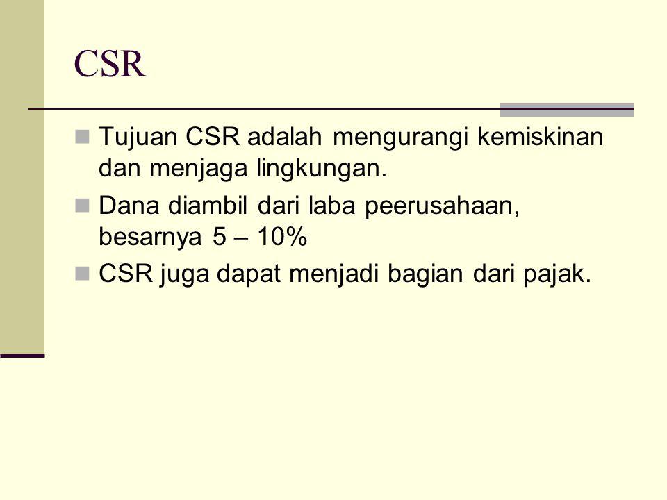 CSR Tujuan CSR adalah mengurangi kemiskinan dan menjaga lingkungan.
