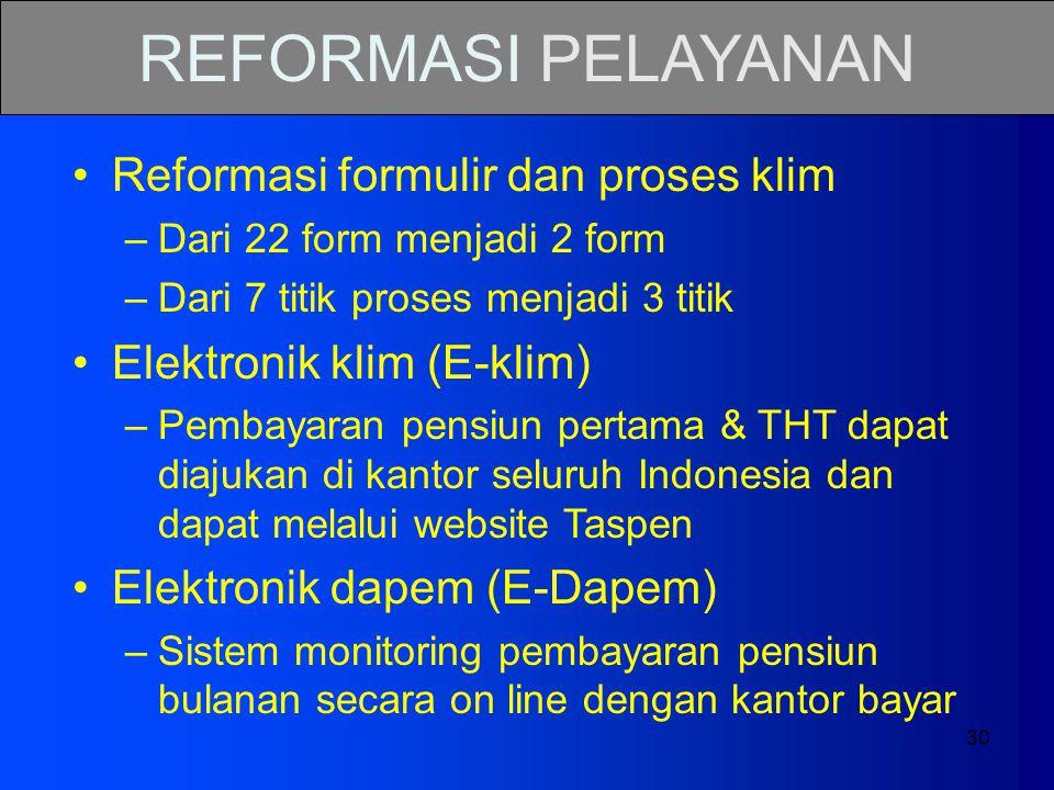 REFORMASI PELAYANAN Reformasi formulir dan proses klim