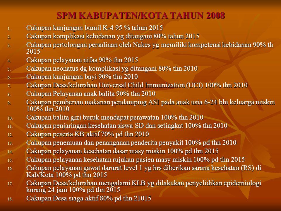 SPM KABUPATEN/KOTA TAHUN 2008