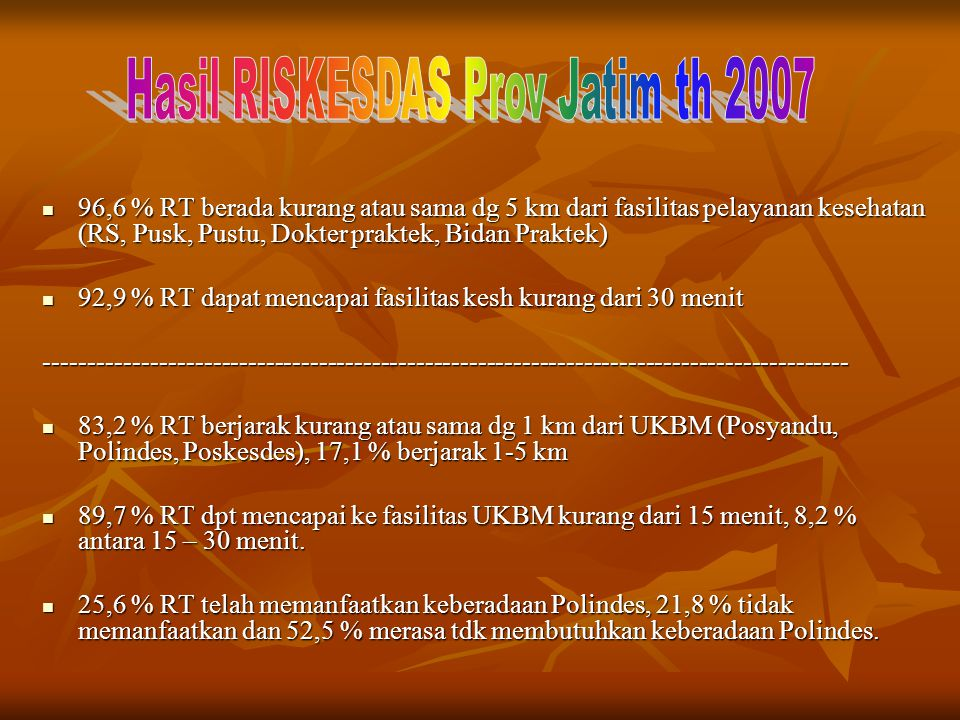 Hasil RISKESDAS Prov Jatim th 2007