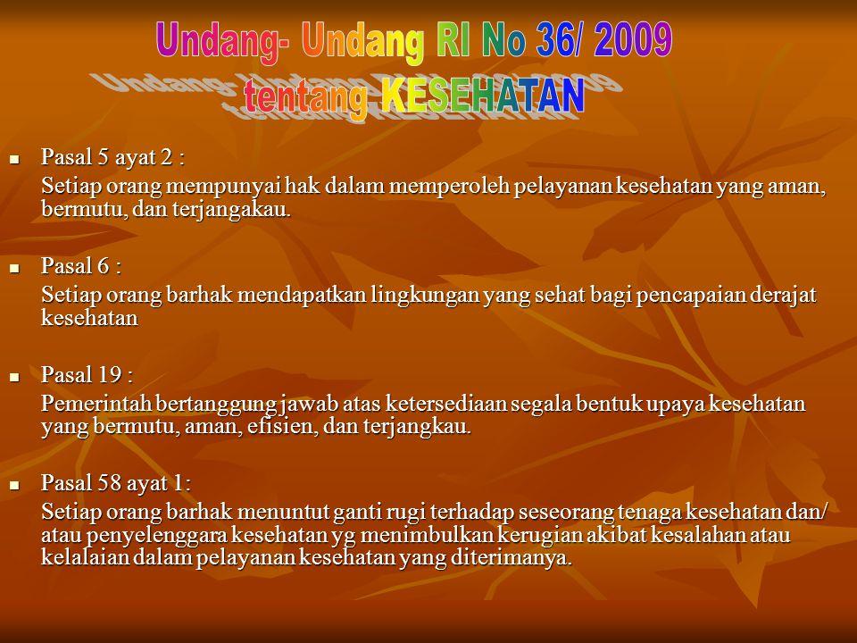 Undang- Undang RI No 36/ 2009 tentang KESEHATAN Pasal 5 ayat 2 :