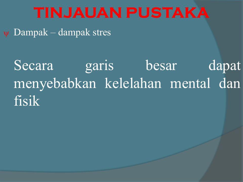 TINJAUAN PUSTAKA Dampak – dampak stres