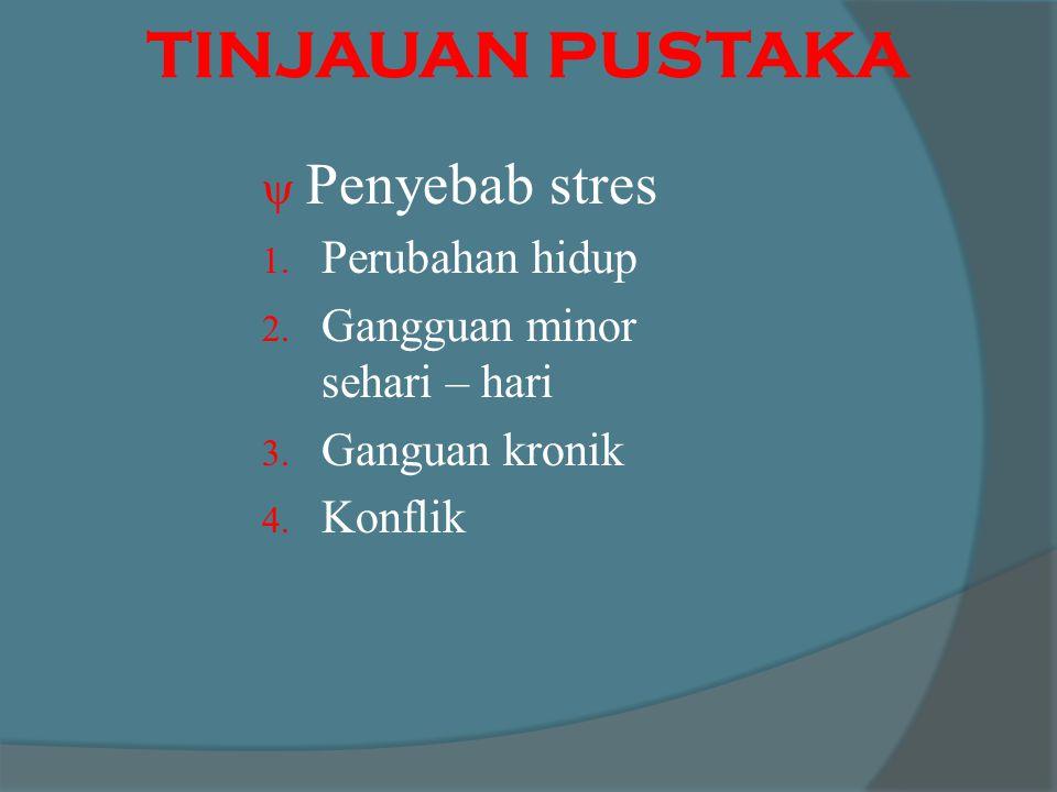 TINJAUAN PUSTAKA Penyebab stres Perubahan hidup