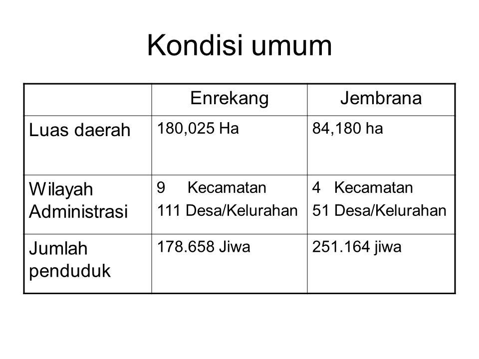 Kondisi umum Enrekang Jembrana Luas daerah Wilayah Administrasi