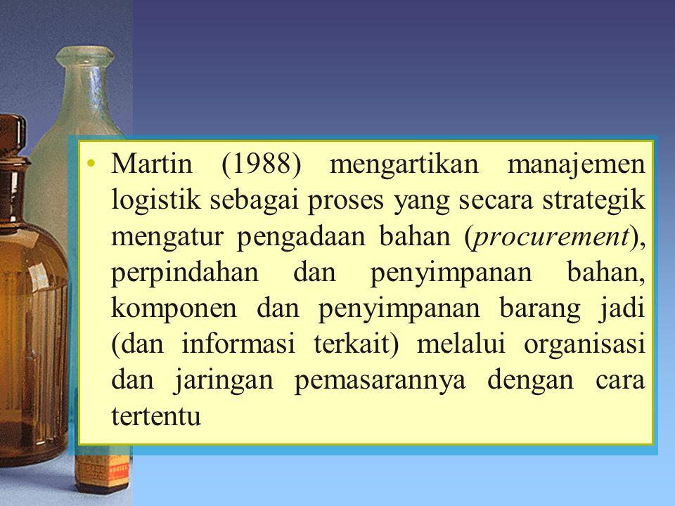 Martin (1988) mengartikan manajemen logistik sebagai proses yang secara strategik mengatur pengadaan bahan (procurement), perpindahan dan penyimpanan bahan, komponen dan penyimpanan barang jadi (dan informasi terkait) melalui organisasi dan jaringan pemasarannya dengan cara tertentu