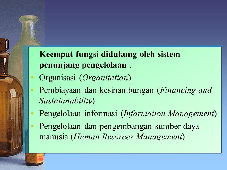 Keempat fungsi didukung oleh sistem penunjang pengelolaan :