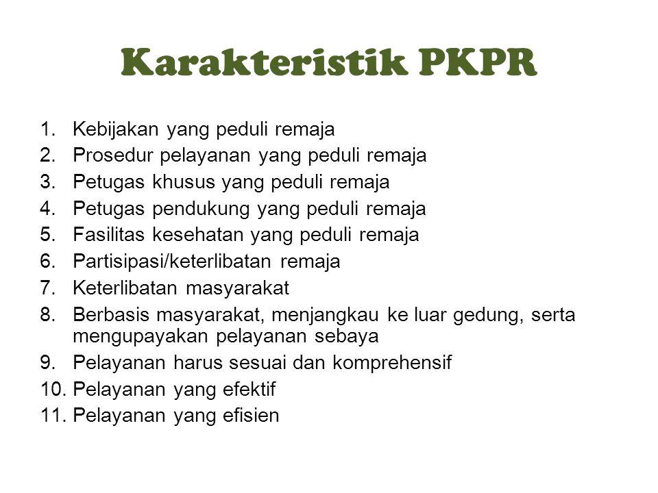 Karakteristik PKPR Kebijakan yang peduli remaja