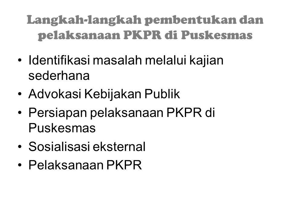 Langkah-langkah pembentukan dan pelaksanaan PKPR di Puskesmas