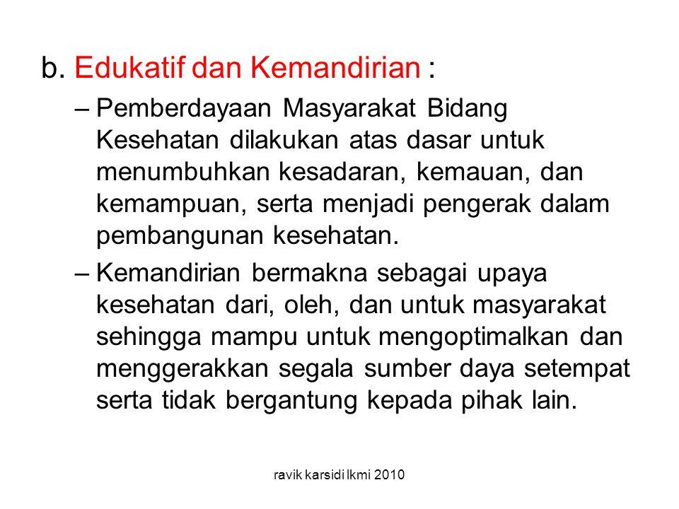 b. Edukatif dan Kemandirian :