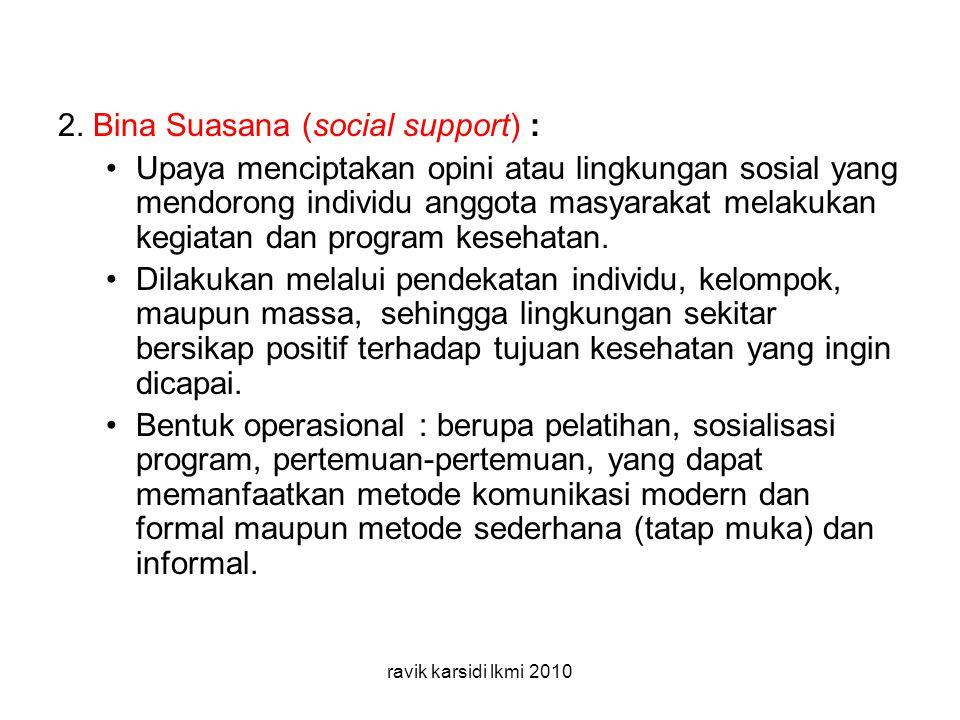 2. Bina Suasana (social support) :