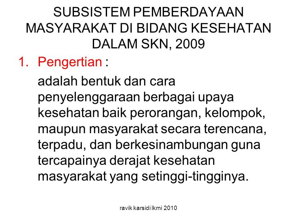 SUBSISTEM PEMBERDAYAAN MASYARAKAT DI BIDANG KESEHATAN DALAM SKN, 2009