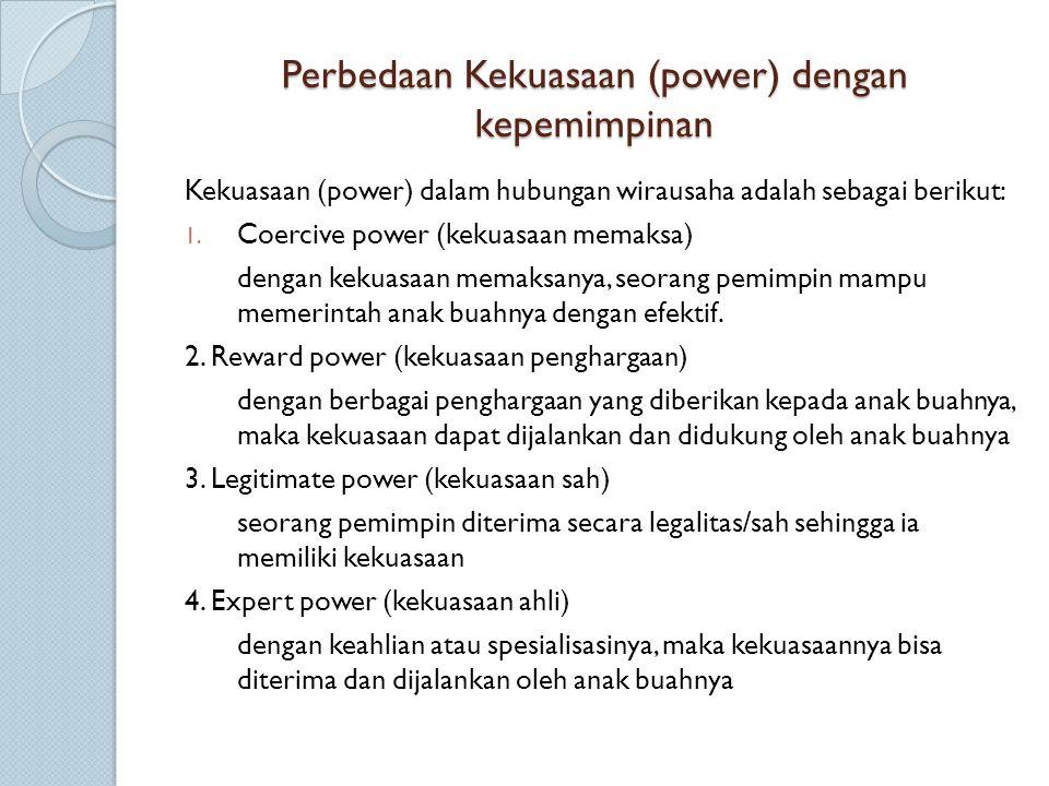 Perbedaan Kekuasaan (power) dengan kepemimpinan