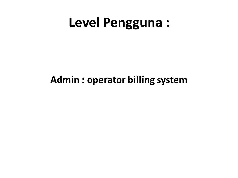 Admin : operator billing system