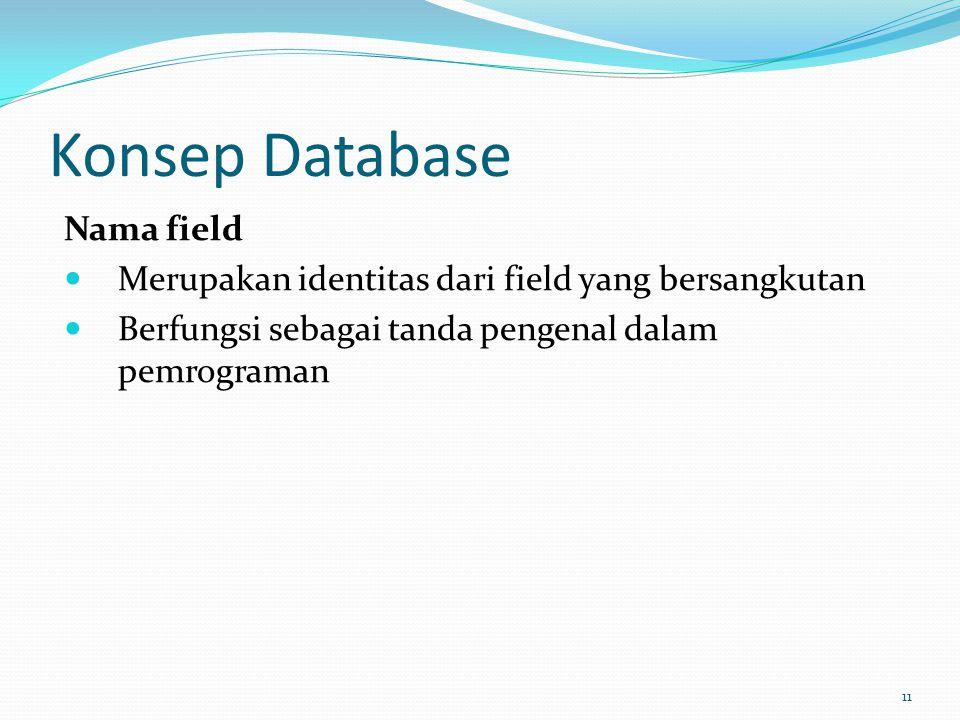 Konsep Database Nama field