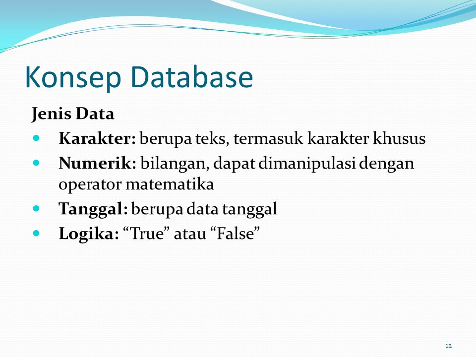 Konsep Database Jenis Data