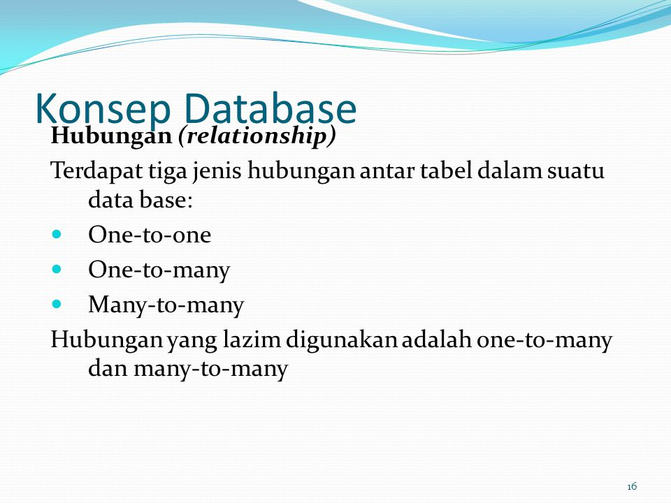 Konsep Database Hubungan (relationship)