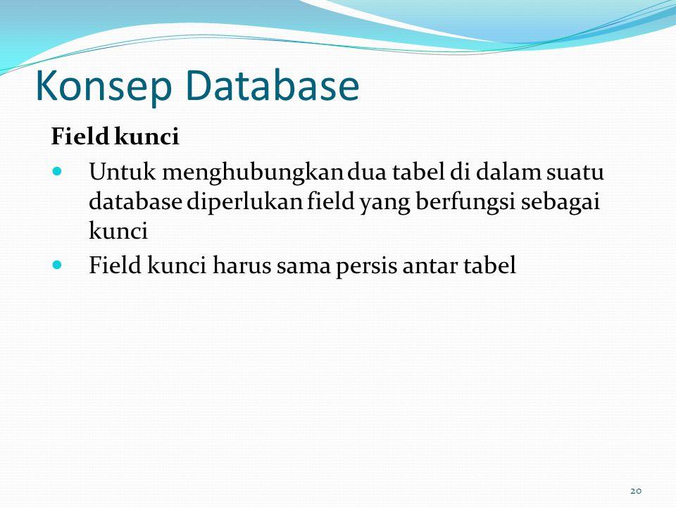 Konsep Database Field kunci