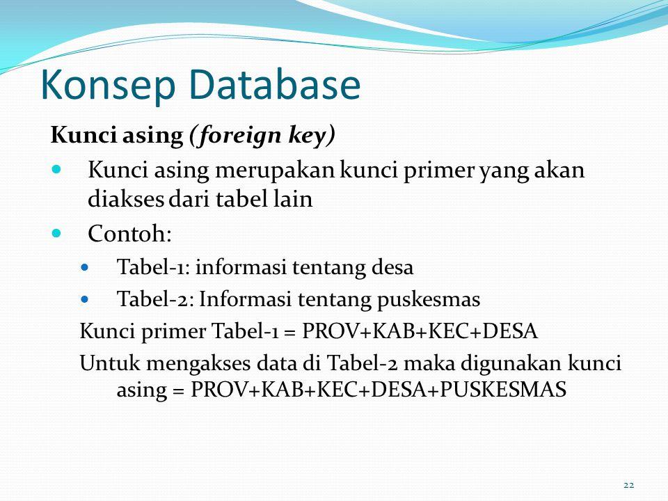 Konsep Database Kunci asing (foreign key)