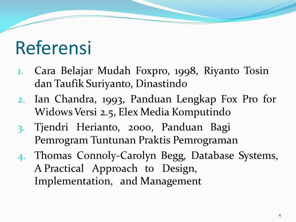 Referensi Cara Belajar Mudah Foxpro, 1998, Riyanto Tosin dan Taufik Suriyanto, Dinastindo.