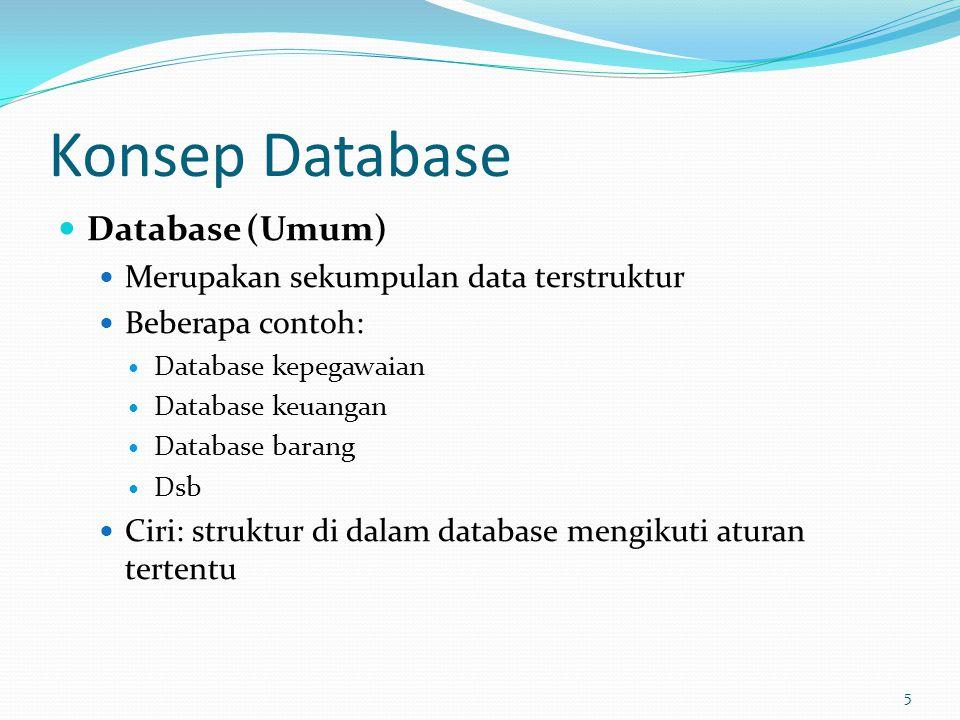 Konsep Database Database (Umum) Merupakan sekumpulan data terstruktur
