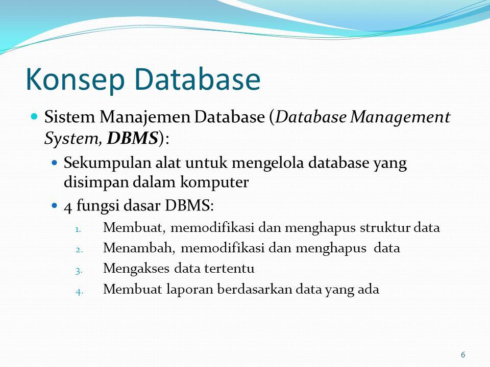 Konsep Database Sistem Manajemen Database (Database Management System, DBMS): Sekumpulan alat untuk mengelola database yang disimpan dalam komputer.