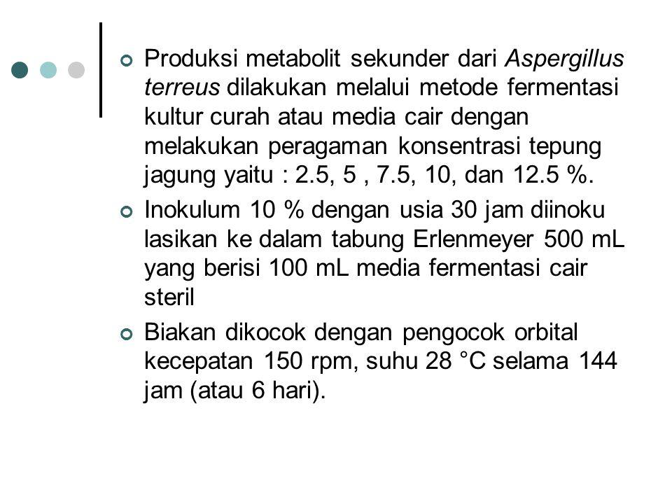 Produksi metabolit sekunder dari Aspergillus terreus dilakukan melalui metode fermentasi kultur curah atau media cair dengan melakukan peragaman konsentrasi tepung jagung yaitu : 2.5, 5 , 7.5, 10, dan 12.5 %.