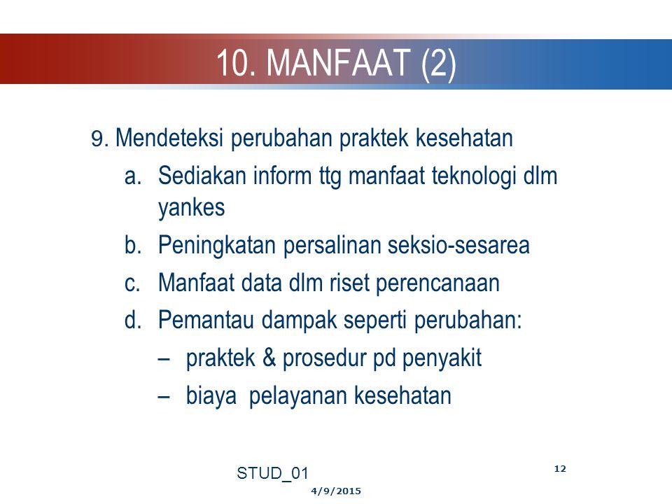 10. MANFAAT (2) Sediakan inform ttg manfaat teknologi dlm yankes