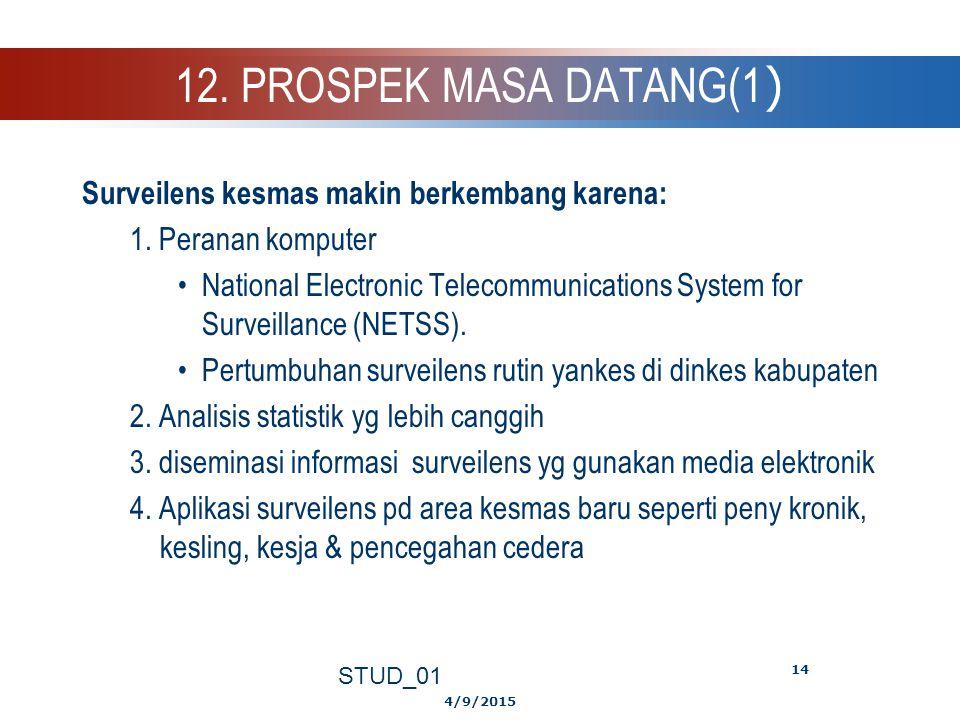 12. PROSPEK MASA DATANG(1) Surveilens kesmas makin berkembang karena: