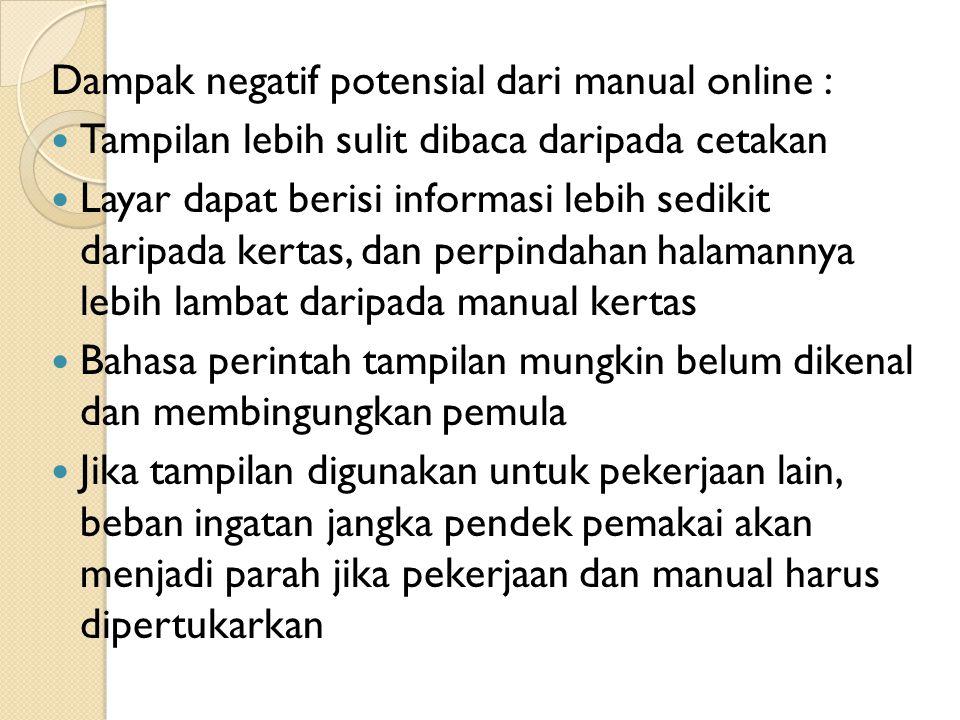 Dampak negatif potensial dari manual online :