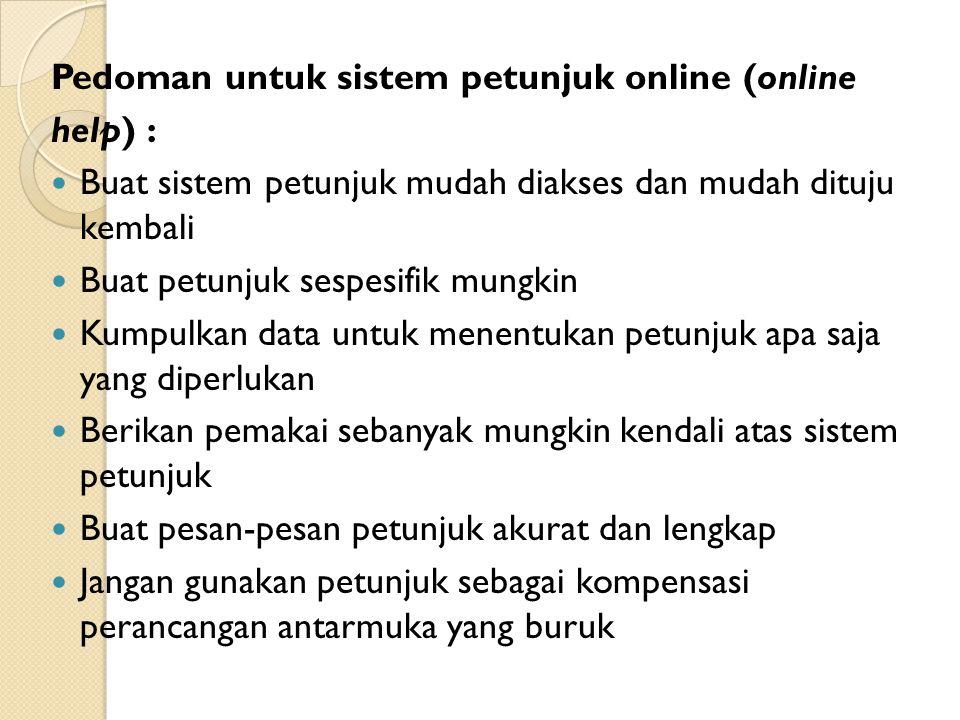 Pedoman untuk sistem petunjuk online (online