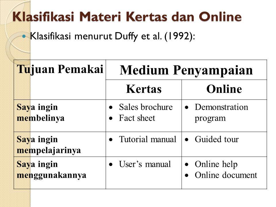 Klasifikasi Materi Kertas dan Online