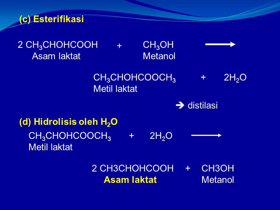 2 CH3CHOHCOOH Asam laktat + CH3OH Metanol