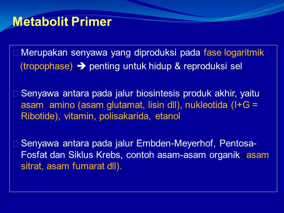 Metabolit Primer Merupakan senyawa yang diproduksi pada fase logaritmik. (tropophase)  penting untuk hidup & reproduksi sel.
