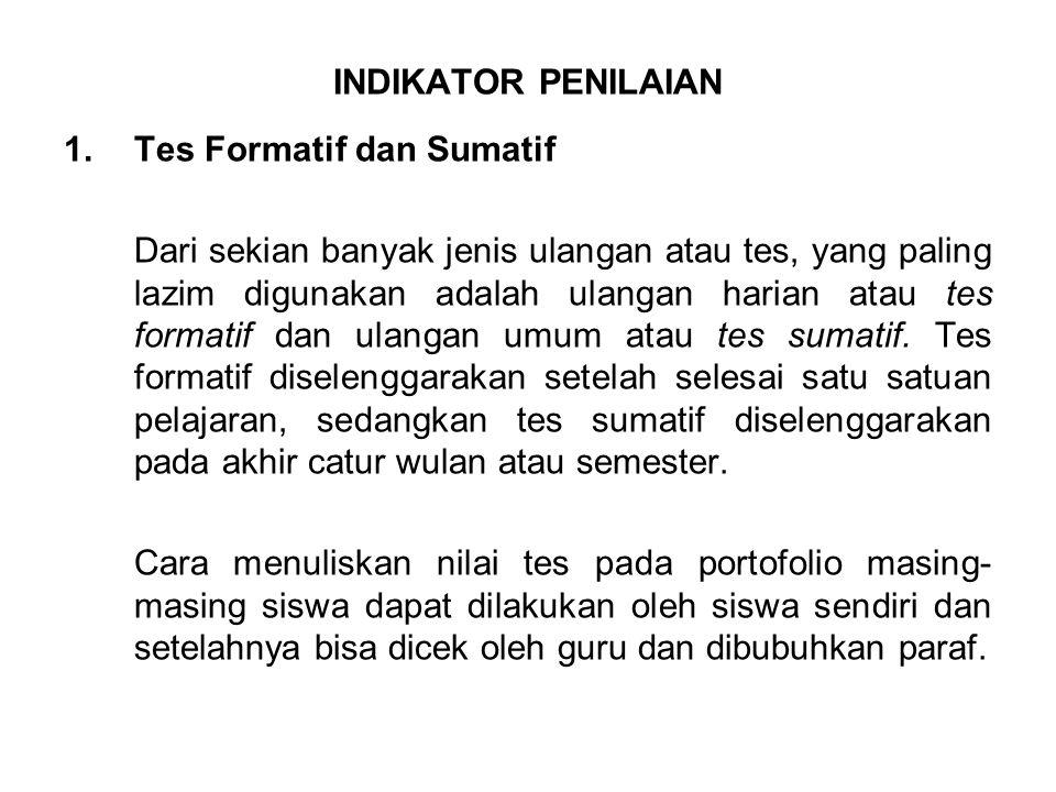 INDIKATOR PENILAIAN Tes Formatif dan Sumatif.