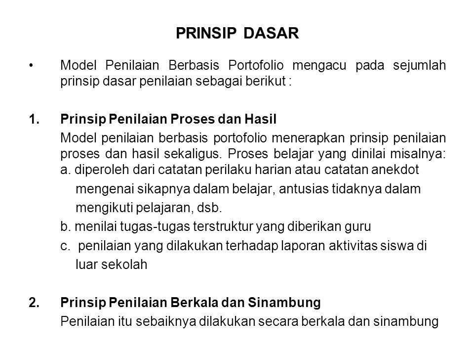 PRINSIP DASAR Model Penilaian Berbasis Portofolio mengacu pada sejumlah prinsip dasar penilaian sebagai berikut :