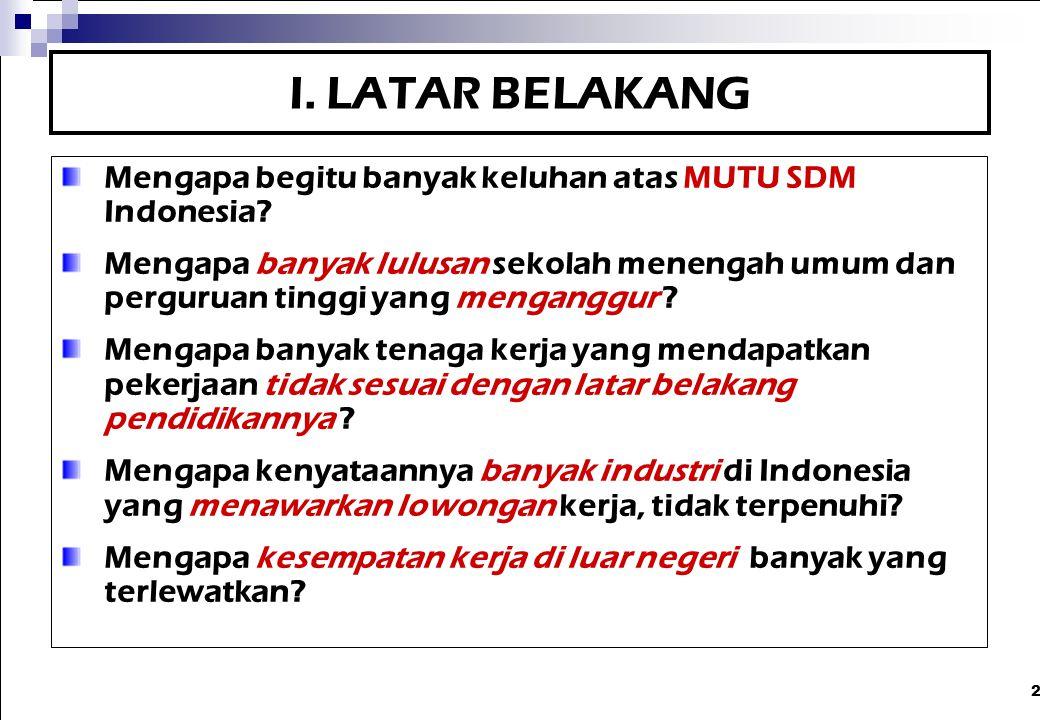 I. LATAR BELAKANG Mengapa begitu banyak keluhan atas MUTU SDM Indonesia