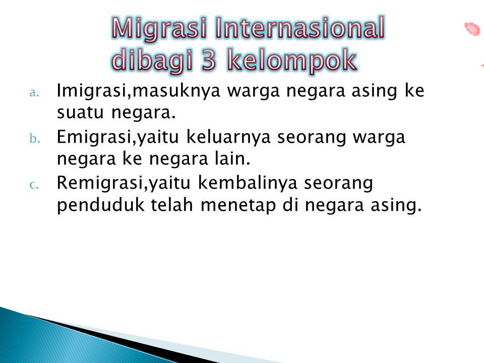 Migrasi Internasional dibagi 3 kelompok