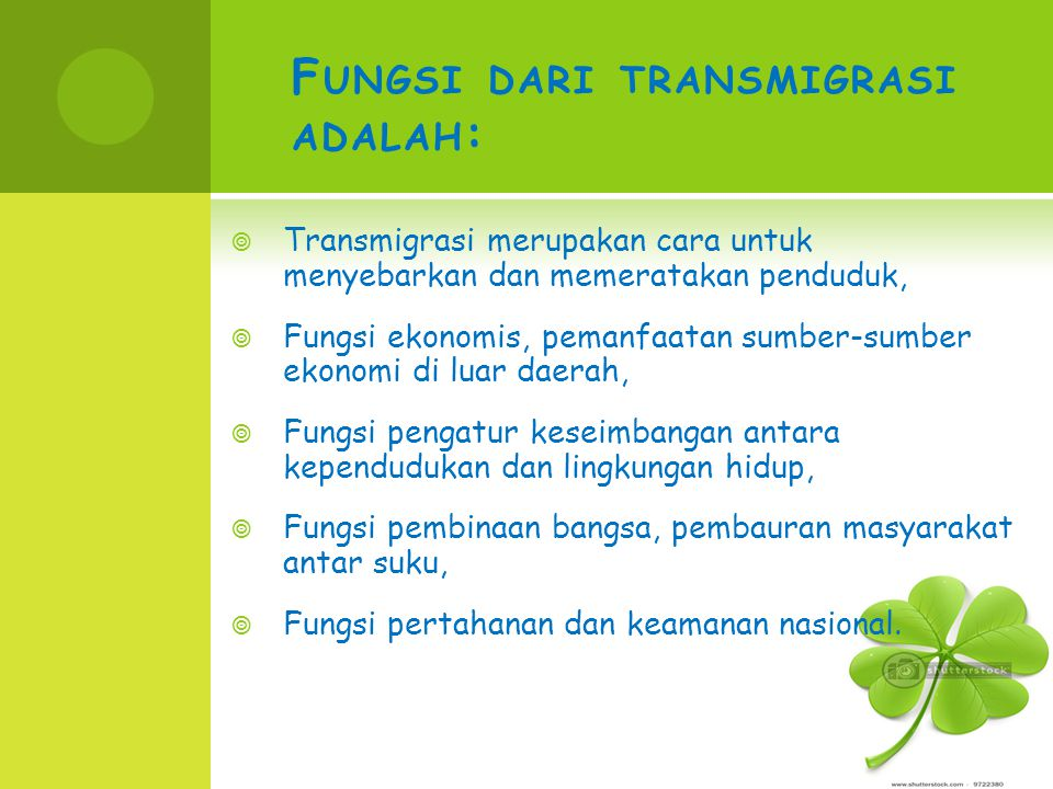 Fungsi dari transmigrasi adalah: