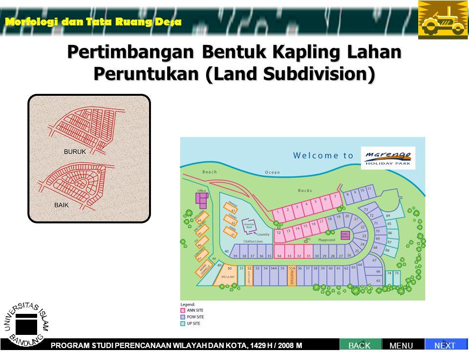 Pertimbangan Bentuk Kapling Lahan Peruntukan (Land Subdivision)