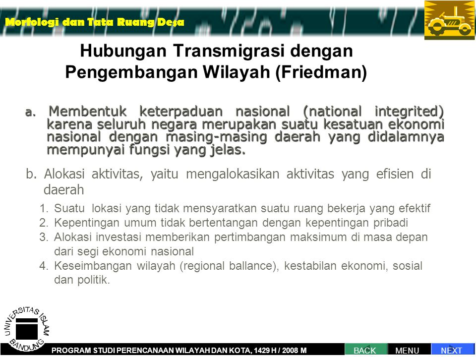 Hubungan Transmigrasi dengan Pengembangan Wilayah (Friedman)