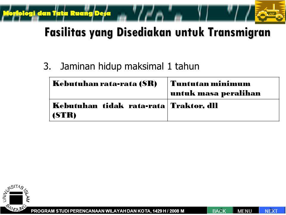 Fasilitas yang Disediakan untuk Transmigran