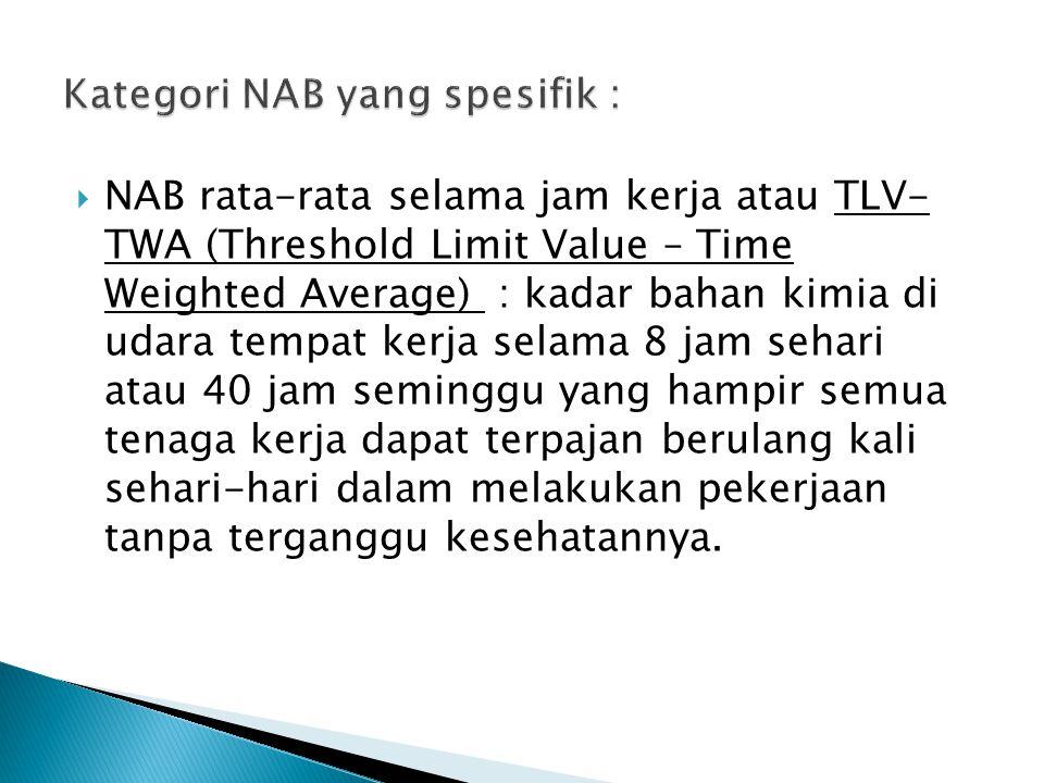 Kategori NAB yang spesifik :
