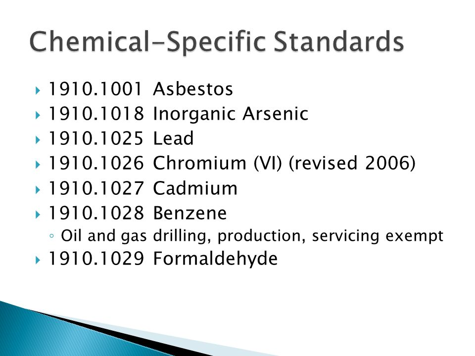 Chemical-Specific Standards