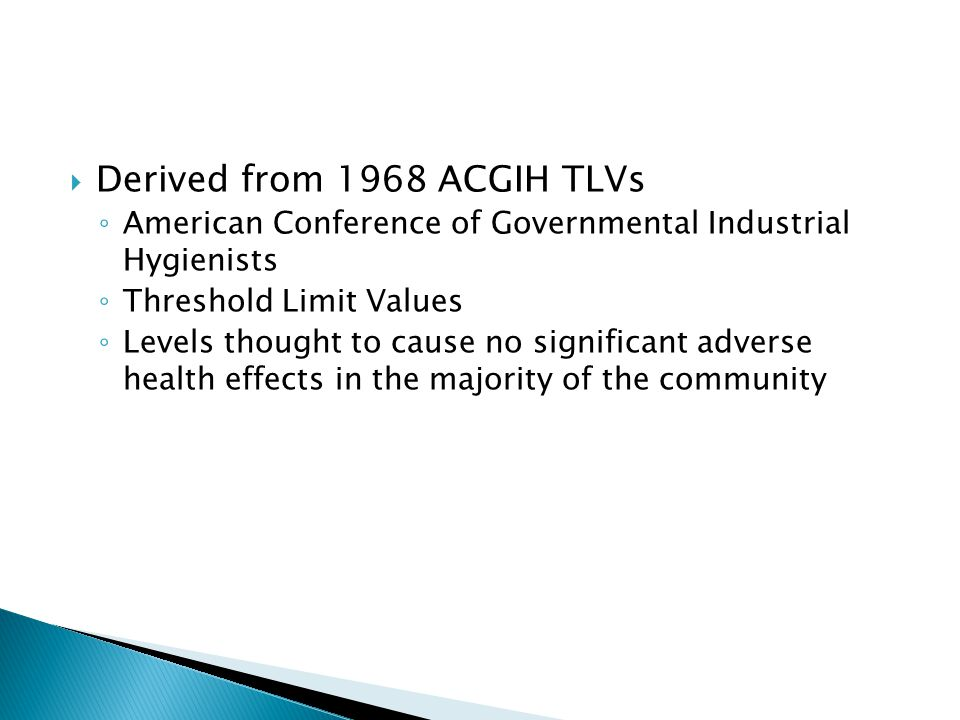 Derived from 1968 ACGIH TLVs