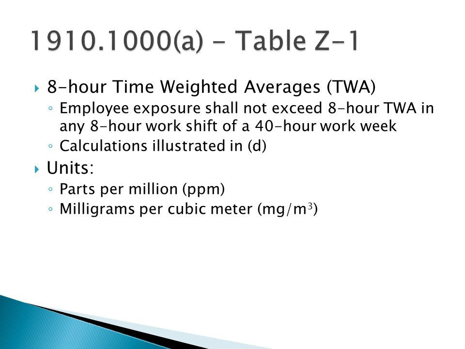 1910.1000(a) - Table Z-1 8-hour Time Weighted Averages (TWA) Units: