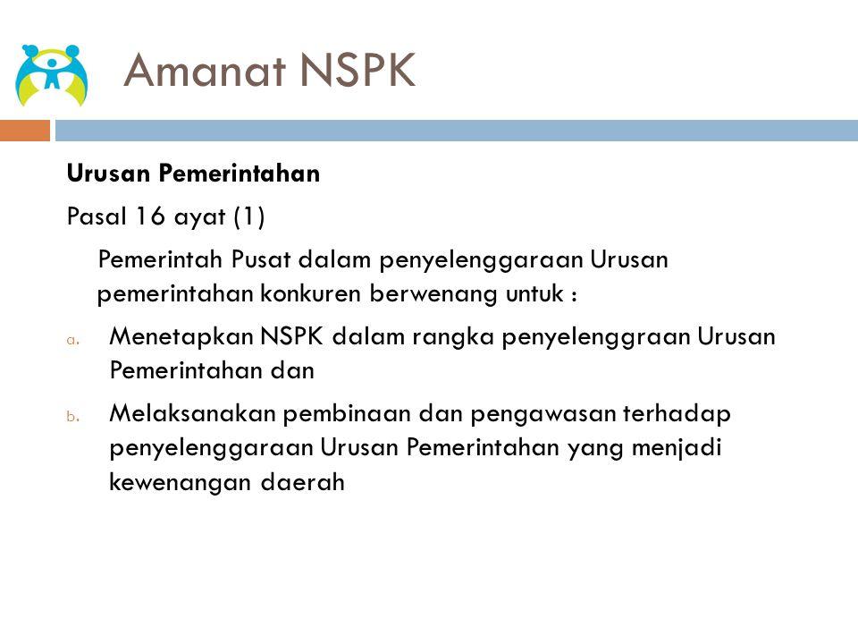 Amanat NSPK Urusan Pemerintahan Pasal 16 ayat (1)