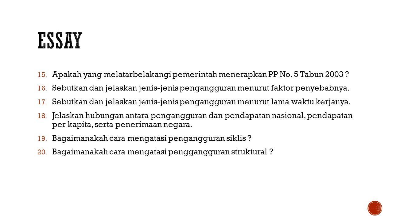 Essay Apakah yang melatarbelakangi pemerintah menerapkan PP No. 5 Tabun 2003