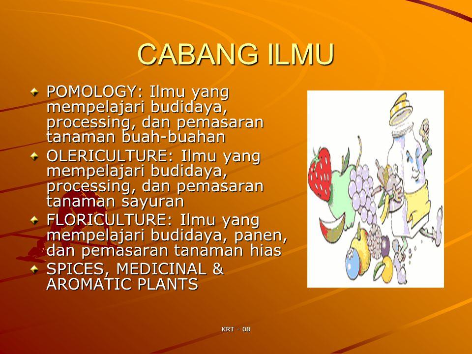CABANG ILMU POMOLOGY: Ilmu yang mempelajari budidaya, processing, dan pemasaran tanaman buah-buahan.